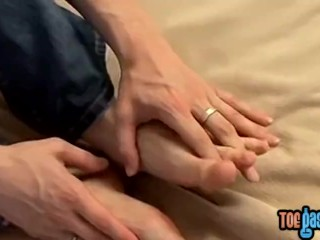 Blond Ayden James sucking toes solo and fucking fleshlight