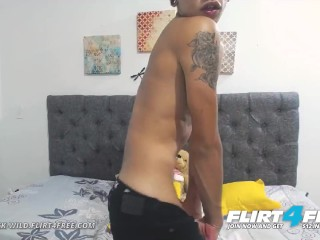 Flirt4Free - Dominick Wild - Sexy Latino Twink Cums Then Plays with His Ass