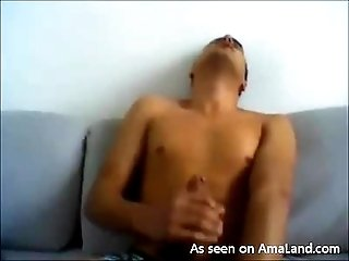 Horny Latino Stroking His Cock on the Couch