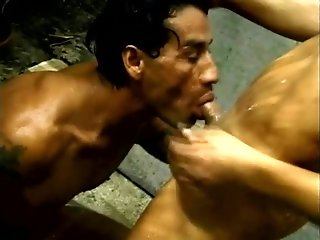 Two gay surfers bang in the shower after sucking each other's wangs