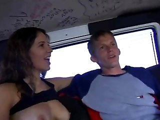 Blond homo jumps on a stranger's prick in a car in stunning reality