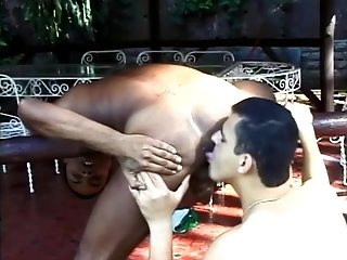 Insatiable Latino gives a rimjob to his BF and drills his butt