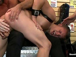 Micah Andrews gets tenderly banged by a group of lewd fags indoors