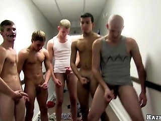 Blond poofter sucks many dicks and gets his ass slammed