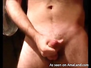 Hairy Hunk Jerks off in Front of the Mirror