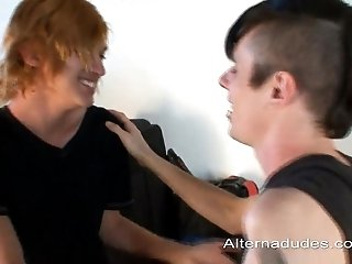 Charming redhead gay allows his Bf to slam his tight ass