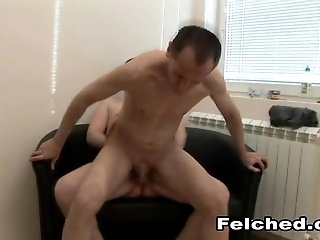 Twink with a super skinny body enjoying a bareback fuck on his sofa