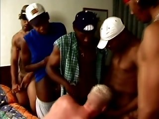 Blonde gay gets brutally mouth-fucked by a few black dudes