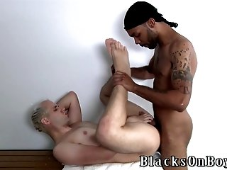 Mature blonde twink sucks a BBC and welcomes it in his ass