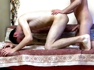 A homo gets his ass drilled from behind after sucking a schlong