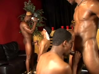 A horny gay bitch gets his ivory ass smashed by black studs